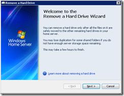 The Remove a Hard Drive Wizard