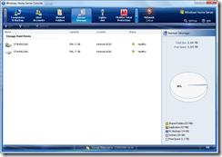 WHS Console - Server Storage