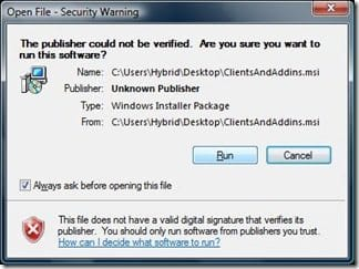 Open File - Security Warning