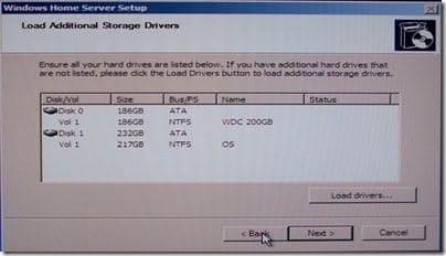Load Additional Storage Drivers Screen