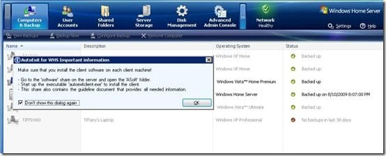 WHS Console with Dialog Box