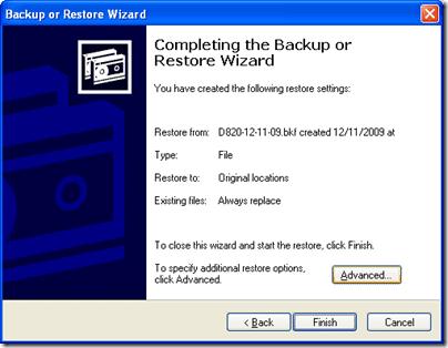 Windows XP Restore