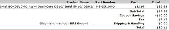WHS Parts Invoice
