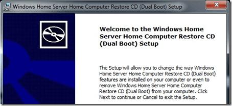 Windows Home Server Computer Restore CD