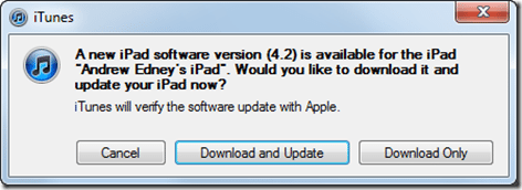 iPad 4.2 update available