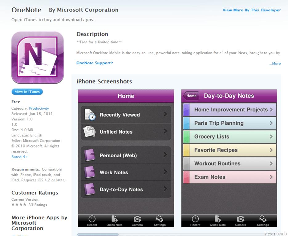 Onenote apple store app