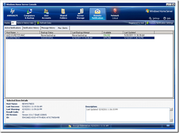 Remote-Notification-Mac-console-tab