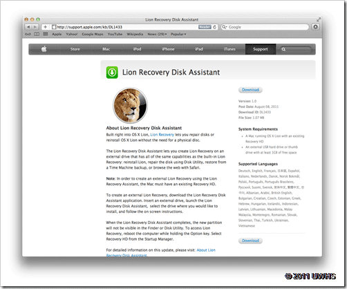 UWHS Guide : How To Use Mac OS X Lion Recovery Disk Assistant