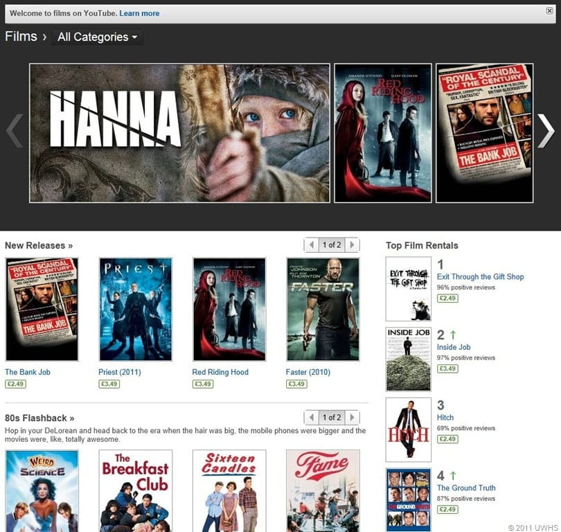 You Tube Movie Rental Now Available - Movies Games and Tech