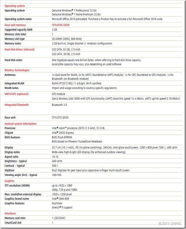 Q550 Specs - 1