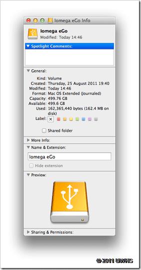 UWHS Review - iomega eGo Portable Hard Drive Mac Edition