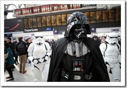 "Jeff Moore 02/04/12<br /> ""THIS PICTURE IS FREE TO USE FOR EDITORIAL PURPOSES""<br /> Darth Vader, Stormtroopers and R2-D2 spotted in Central London today in anticipation of the Kinect Star Wars game launch on 3rd April, exclusively on Xbox 360.<br /> Beginning 3rd April, Kinect Star Wars brings Star Wars to life like never before. Harnessing the controller-free power of Kinect for Xbox 360, Kinect Star War"" allows fans to physically hone their Jedi skills, wield the power of the Force in their hands, pilot iconic ships and vehicles, rampage as a vicious Rancor monster, or even dance with iconic Star Wars characters.</p> <p>"