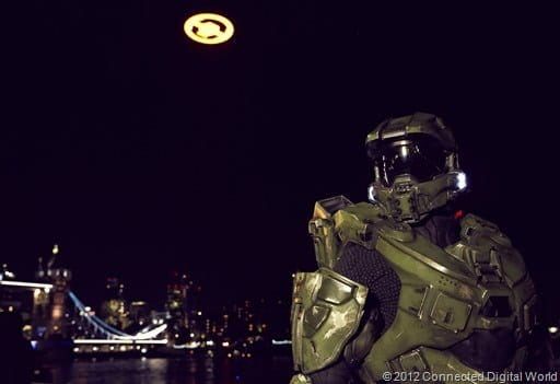 "LONDON – November 5th 2012; Master Chief joins fans by Tower Bridge in London for the spectacular flight of the ""Halo 4"" Glyph to celebrate it's highly anticipated launch on Xbox 360. The ""Halo 4"" Glyph symbol is one of the largest and brightest man-made structures to ever fly over a capital city and measures 50 feet in diameter and weighs over three tons. At Tower Bridge on November 5th 2012 in London."
